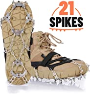 IPOW Crampons Ice Cleats Grips for Shoes Boots Ice Spikes with 21 Spikes Strong Band Double Safe Strap Heavy Duty Snow Cleats Spikes Shoe Grip Traction Cleats for Men Women Walking Hiking on Snow Ice