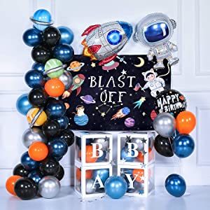 toohoo Outer Space Party Decorations, Space Birthday Decorations Supplies Kit, Rocket Astronaut Blast Off Backdrop with Dark Blue Balloon Garland Arch Kit, Galaxy Background Decorations for Kids