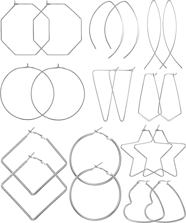 Large Square Silver Hoop Earrings with Unusual Geometric Detail