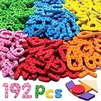 192 Pcs Magnetic Letters Numbers 9 Color(With Pattern Blocks,Symbols) Foam Set, Alphabet Magnets Gift for Preschool Kids…