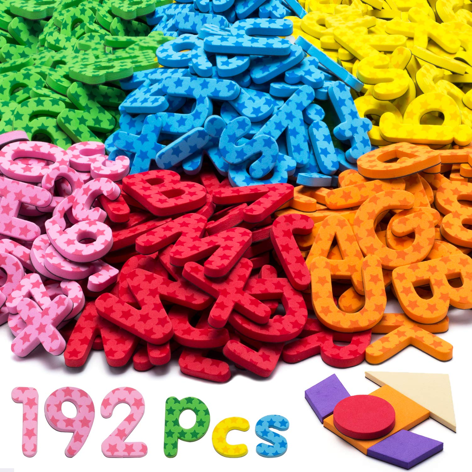 192 Pcs Magnetic Letters Numbers 9 Color(With Pattern Blocks,Symbols) Foam Set, Alphabet Magnets Gift for Preschool Kids Children Toddler Educational Fridge Refrigerator Toy, Classroom School Learning by Punertoy