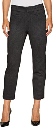 ff09357a3d704 Liverpool Women's Vera Crop Flare Trousers with Welt Pockets in Mini Check  Ponte Knit Black 10