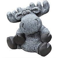 Figura de piedra alce sentado, gris pizarra, figura