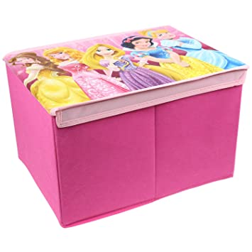 Kids Girls Disney Princess Foldable Jumbo Storage Box Books Toy Chest Trunk  Pink