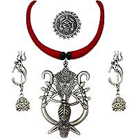 Ranjita Fashion Godess Durga German Silver Pendant Tassel Choker Necklace Earrings and Finger Ring Set for Women and Girls