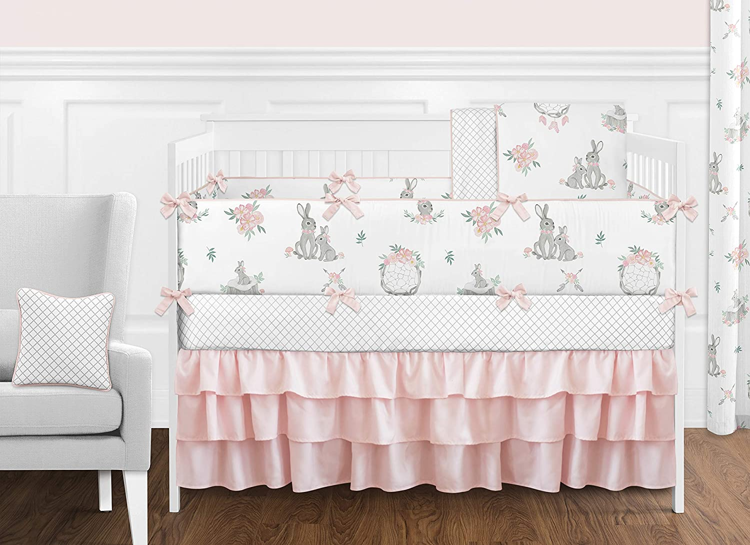 Sweet Jojo Designs Blush Pink and Grey Woodland Boho Dream Catcher Arrow Gray Bunny Floral Baby Girl Nursery Crib Bedding Set with Bumper - 9 Pieces - Watercolor Rose Flower