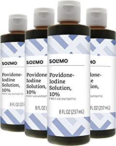 Amazon Brand - Solimo 10% Povidone Iodine Solution First Aid Antiseptic, 8 Fluid Ounce (Pack of 4)
