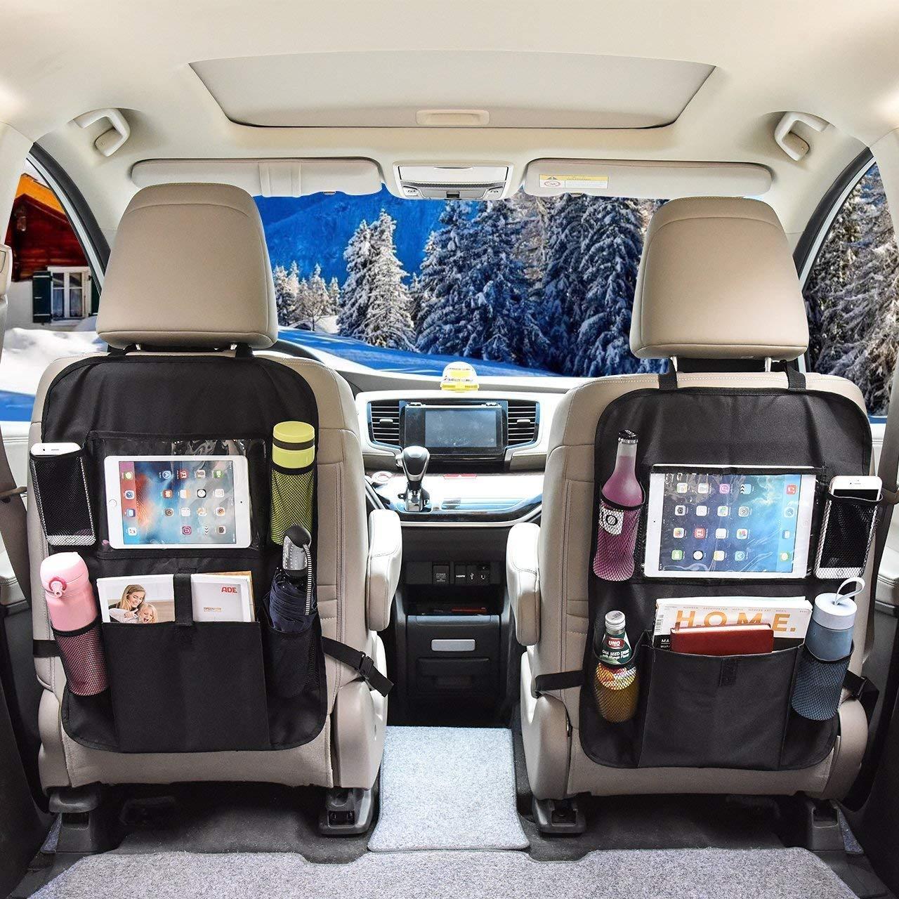 OMORC Protezione Sedile Auto, [2 Pezzi] Proteggi Sedile Auto Bambini Protezione Impermeabile con Supporto iPad/Tablet, Multi-Tasca per Bottiglie, Giocattoli e Accessorio da Viaggio per Bambini, Nero