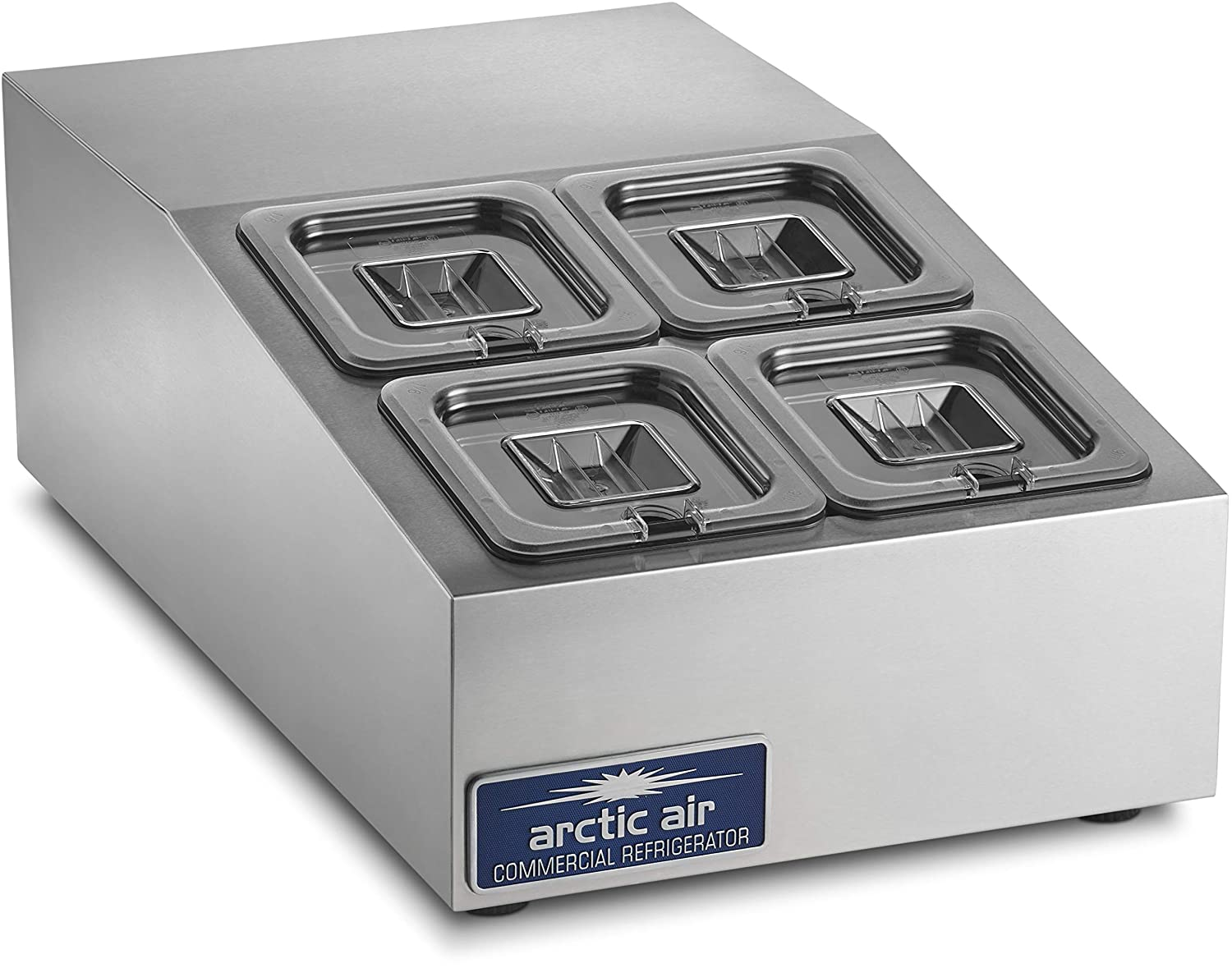 Arctic Air ACP4SQ Compact Refrigerated Counter-Top Prep Unit with (4) 1/6 Stainless Pans & Covers Silver 819iOUchc6L._SL1500_