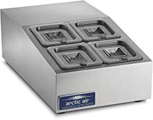Arctic Air ACP4SQ Compact Refrigerated Counter-Top Prep Unit with (4) 1/6 Stainless Pans & Covers