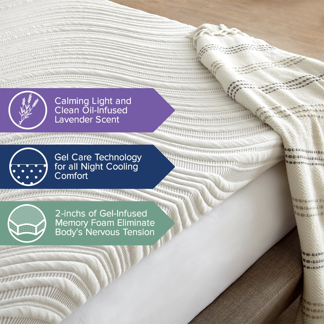 Enjoy The Relaxing Scent of Lavender as You Sleep Combined with The Comfort of Memory Foam PC-TOPLAV2-F Perfect Cloud Lavender Bliss Memory Foam Mattress Topper 2-inch Full
