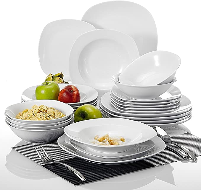 Malacasa Series Elisa 24 Piece Dinner Sets White Porcelain Dinner Set With 6 Piece 6 7 Cereal Bowl 6 Piece 9 75 Dinner Plate 6 Piece 7 5 Dessert Plate And 6 Piece 8 5 Soup Plate Service For 6 Amazon Co Uk Kitchen Home