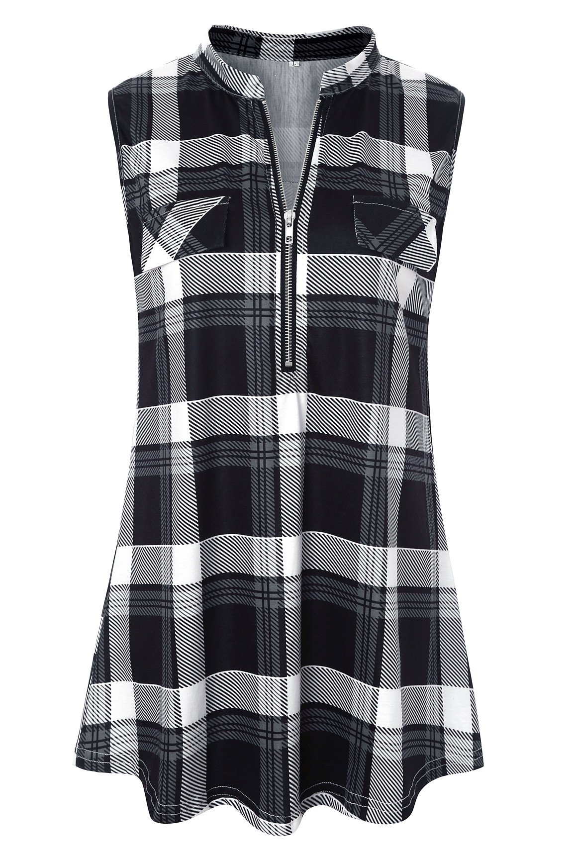 Luranee Womens Zip up Shirt, Ladies Loose Fit Tank Tops Flannel Blouses Notch V Neck Pleated Details Crisp Well Made Shopping Casual Wear Outfits Sleeveless Muffin Top Black Plaid XX Large