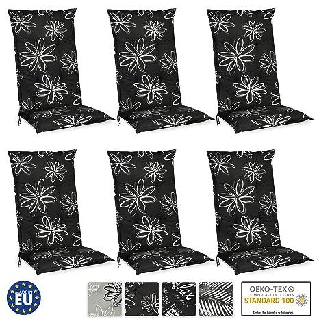 Beautissu Set de 6 Cojines para sillas de Exterior y jardín con Respaldo Alto Flores 120x50x6 cm tumbonas, mecedoras, Asientos cómodo Acolchado ...