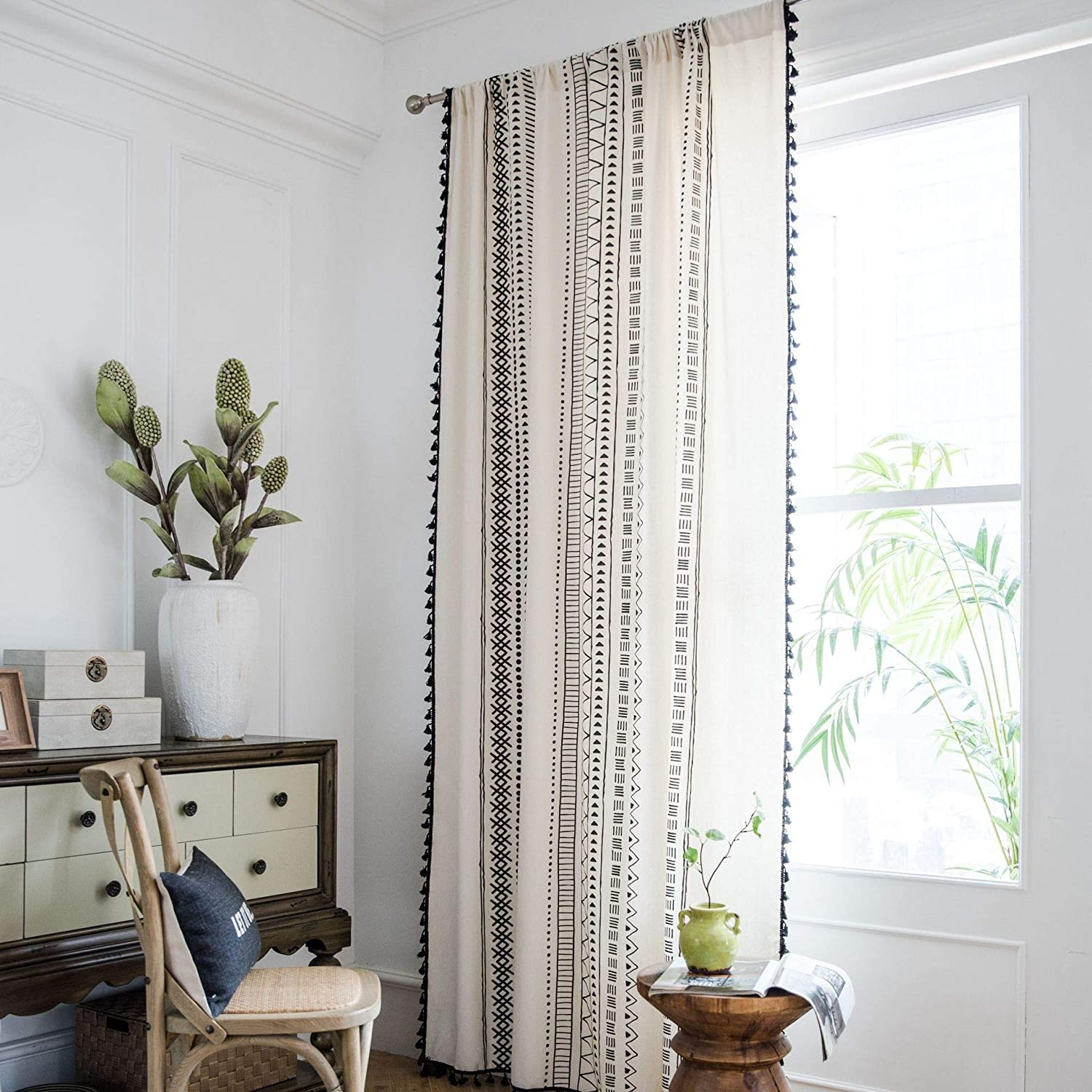 "SUCSES Boho Window Curtains with Tassels, Cotton Linen Farmhouse Bohemian Curtain for Living Room Bedroom, Geometric Printed Country Style Drapes, 1 Piece, 59"" x 71"""