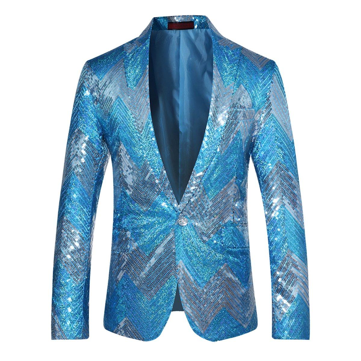 Cloudstyle Mens Blazer Sequin Dance Peaked Lapel One Button Tuxedo ...