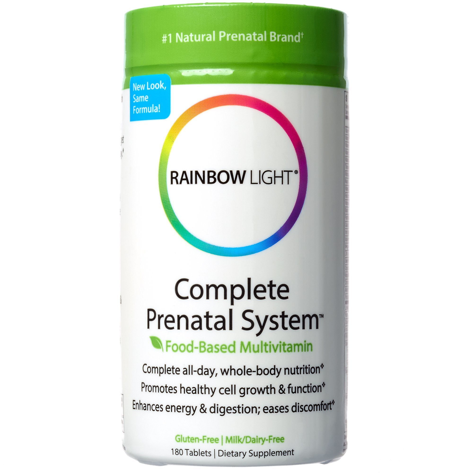 Rainbow Light - Complete Prenatal System, Food-Based Multivitamin Support for Fetal Development, Energy and Digestion with Folic Acid, Choline, and Probiotics, Gluten-Free, Dairy-Free, 180 Tablets