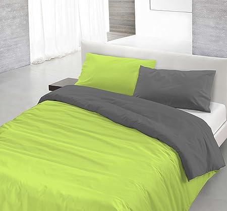 Copripiumino Verde Acido.Italian Bed Linen Natural Color Parure Copripiumino Con Sacco E