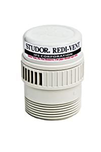"""Studor 20349 REDI-VENT Air Admittance Valve, 1-1/2"""" or 2"""" ABS Adapter, White"""