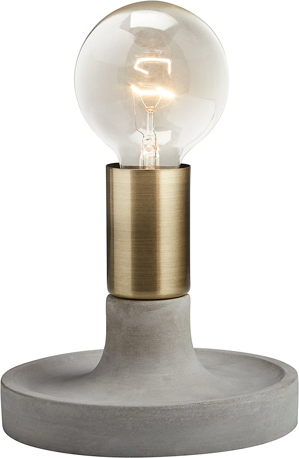 Rivet Modern Exposed Bulb Table Lamp, Cement with Antique