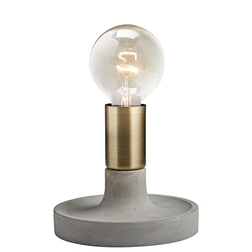 Rivet Modern Exposed Bulb Table Lamp, Cement With Antique Brass Accents
