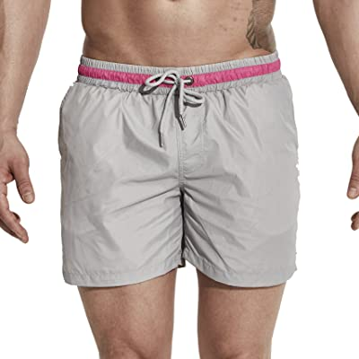 DESMIIT Men's Pockets Short Swim Trunks Beach Shorts with Mesh Lining