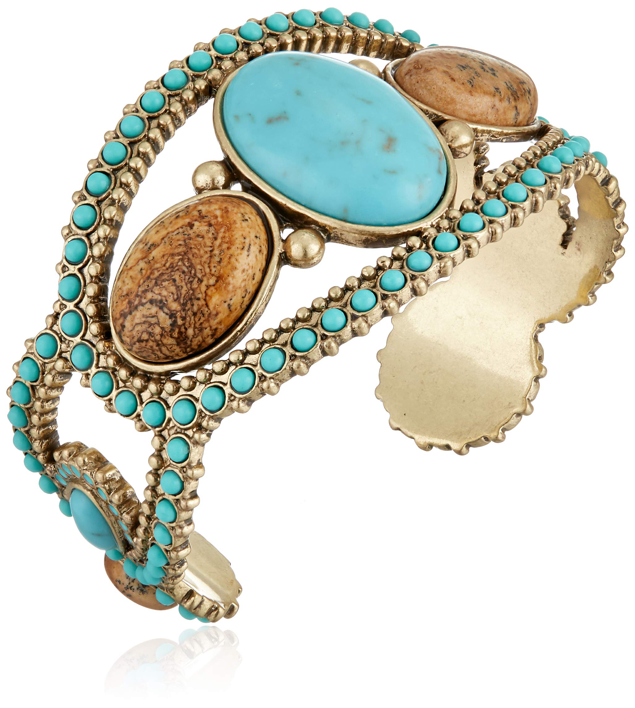 Lucky Brand Women's Turquoise and Jasper Beaded Cuff Bracelet, Gold, One Size