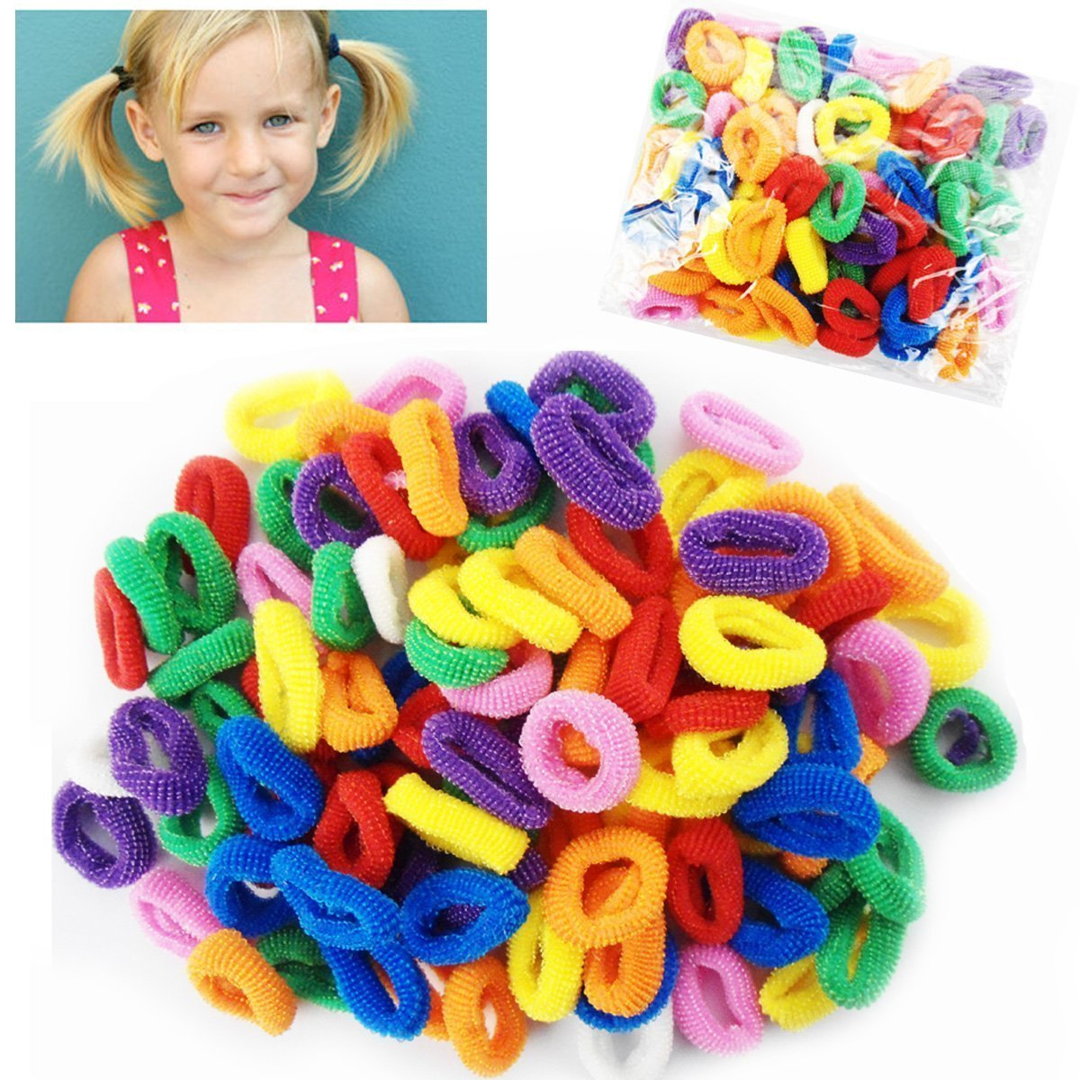 Allsorts® 100 Mini Bright Hair Ponios No Snag No Metal Hair Bobbles Soft Hair Accessory