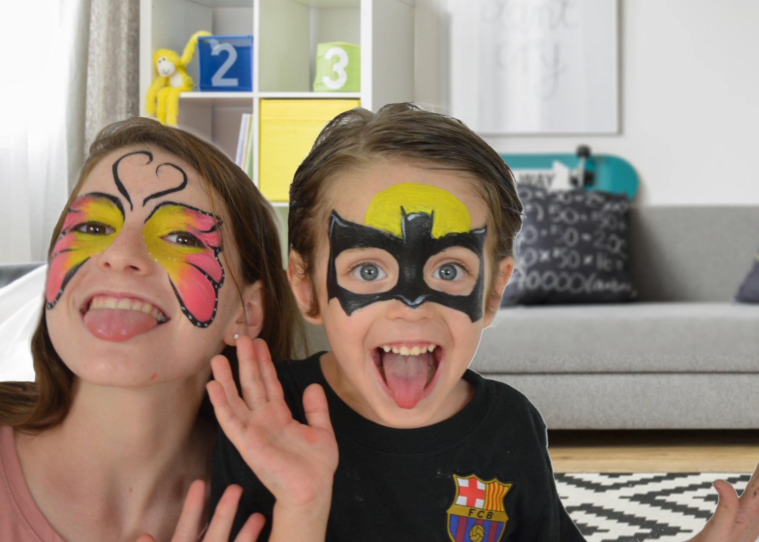 Face painting kits. Free 40 Stencils Included. Use for Body Painting,Birthday, Halloween or Kids Makeup Parties.Our Face Paint Kit Contain Palette 8 Colors, Glitter,Brushes & Sponges