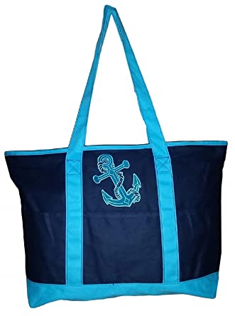 Amazon.com   Large Embroidered Ocean Themed Zipper Top Beach Bag ...