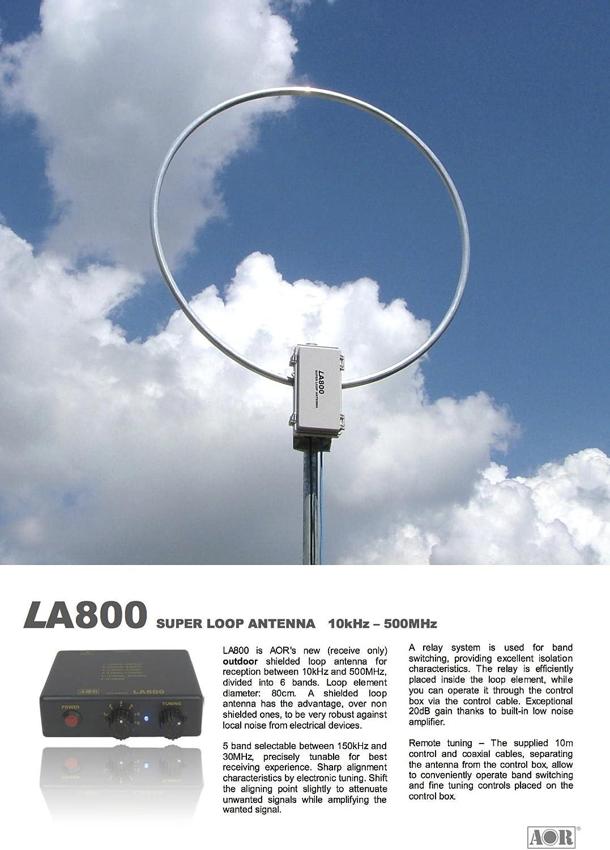 la-800 AOR – Antena Loop de exterior 10 kHz – 500 MZ