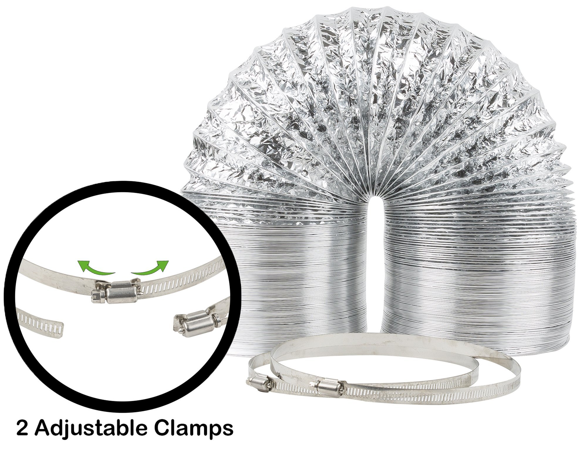 """4"""" x 25' HVAC Flex Duct Non-Insulated Venting Hose with 2 Worm Gear Clamps for Grow Room and Greenhouse"""