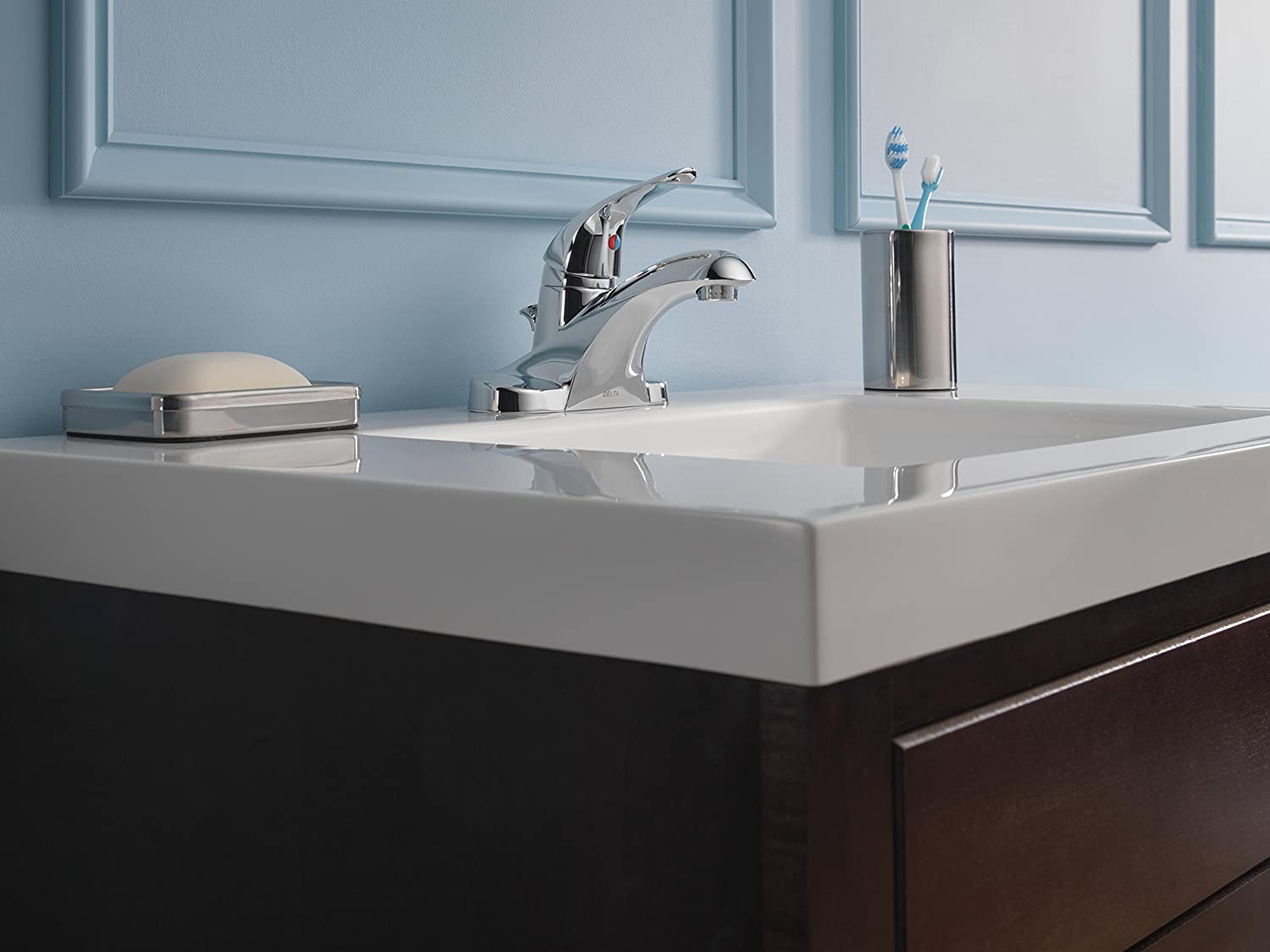 Delta Foundations B510LF Single Handle Centerset Bathroom Faucet, Chrome    Touch On Bathroom Sink Faucets   Amazon.com