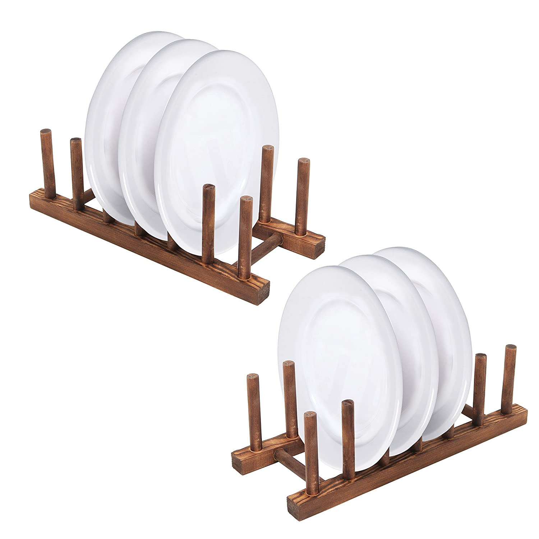 6 Slot Wood Dish Racks, Kitchen Countertop Plate Drainers, Set of 2, Dark Brown