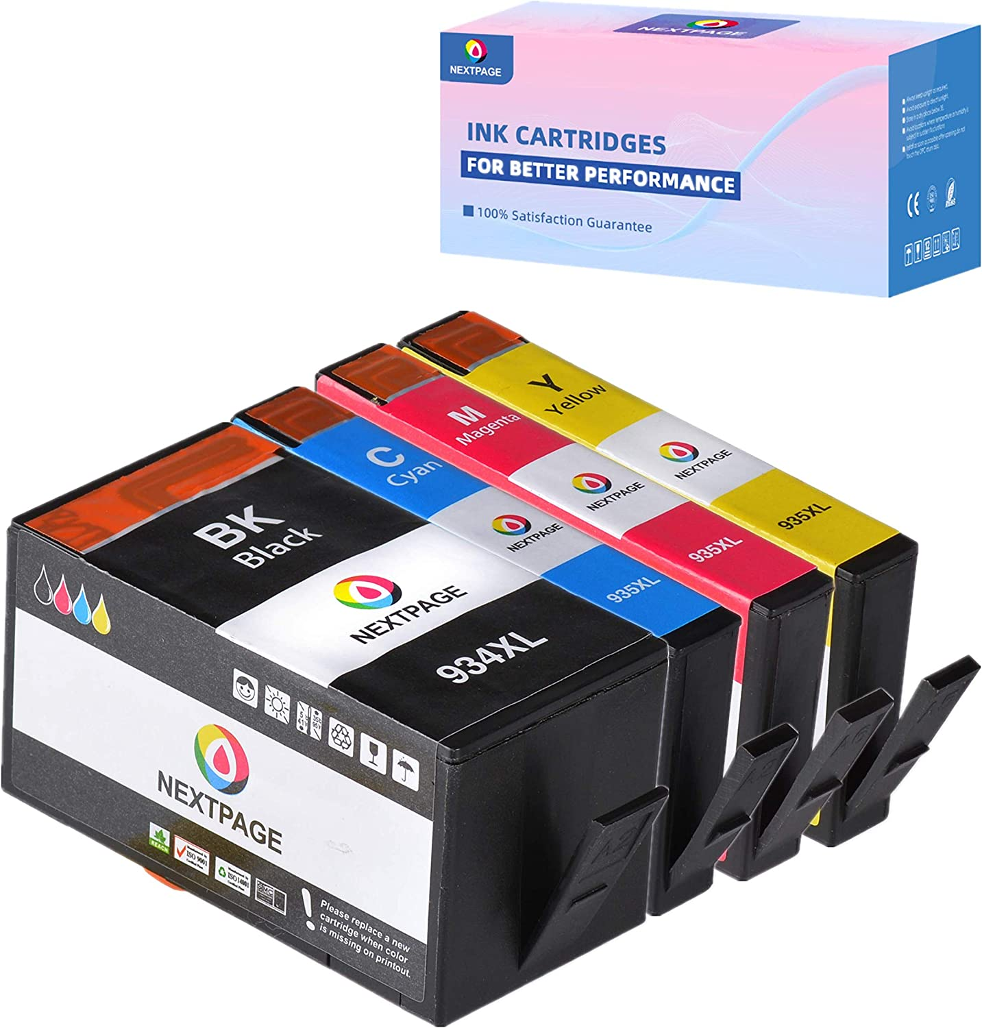 NEXTPAGE Compatible Ink Cartridge Replacement for HP 934XL 935XLOfficejet Pro6230/6830 Officejet 6812/6815/pro6835 e-All-in-One Printer OfficeJet 6820 e-Tout-en-un, 4 Pack