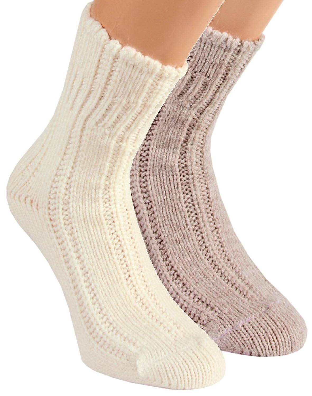 2 PAAR Home Socks BETTSOCKEN Strümpfe Damenstrümpfe Gr. 35 - 42 grau/beige)