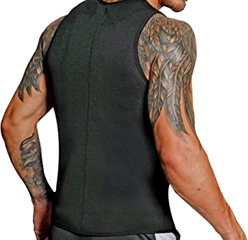 XYYG Men Sweat Waist Trainer Tank Top Vest Weight Loss Neoprene Workout Shirt Sauna Black