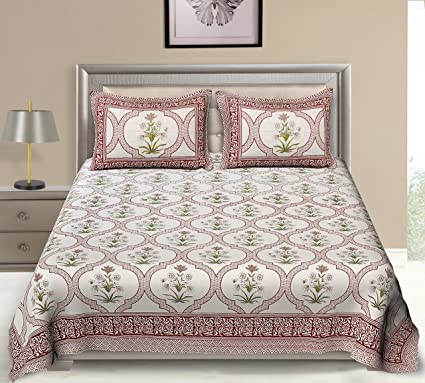SHOPICTED 100% Cotton Premium 300TC Multi Colored Double Fitted Bedsheet with Two Pillow Covers- Pink Garden Series