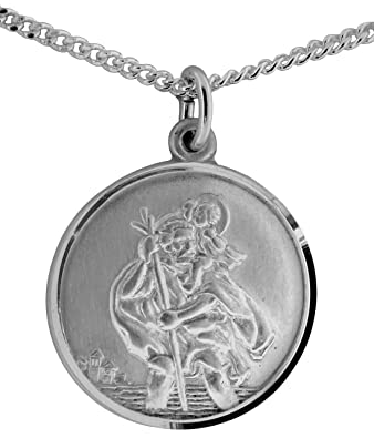 Sterling silver st christopher pendant 17mm 16 silver curb chain sterling silver st christopher pendant 17mm 16quot mozeypictures Image collections