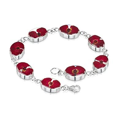 Silver Bracelet made with real flowers by Shrieking Violet ® - Poppy - Oval - includes giftbox EaPTwIbln