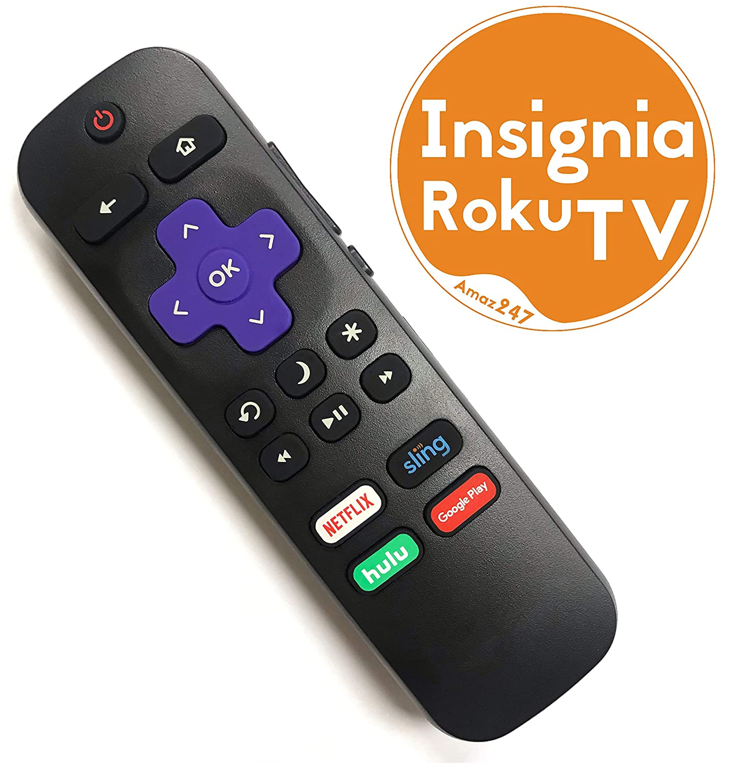 Insignia ROKU TV Replacement Remote w/Volume Control and TV Power Button