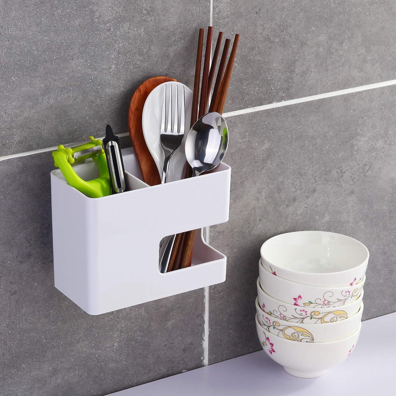 JOMOLA Hair Dryer Holder Rack Wall Mounted Adhesive Styling Tool Organiser Storage for Blow Dryer Storage Basket for Kitchen-White