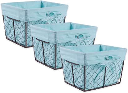 DII Z01537 Vintage Chicken Wire Baskets for Storage Removable Fabric Liner, Set of 3, Aqua, 3 Piece