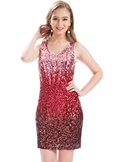 a0a725f33eb MANER Women's Sexy V Neck Sequin Glitter Bodycon Stretchy Club Mini Party  Dress