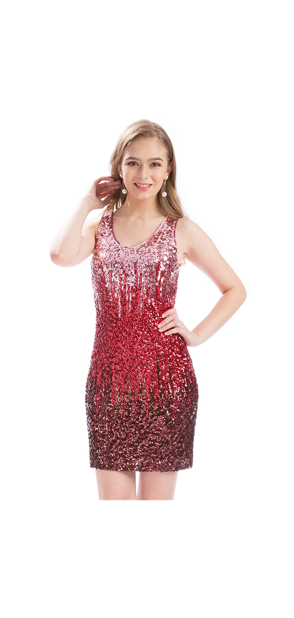Women's Sexy V Neck Sequin Glitter Bodycon Stretchy Club