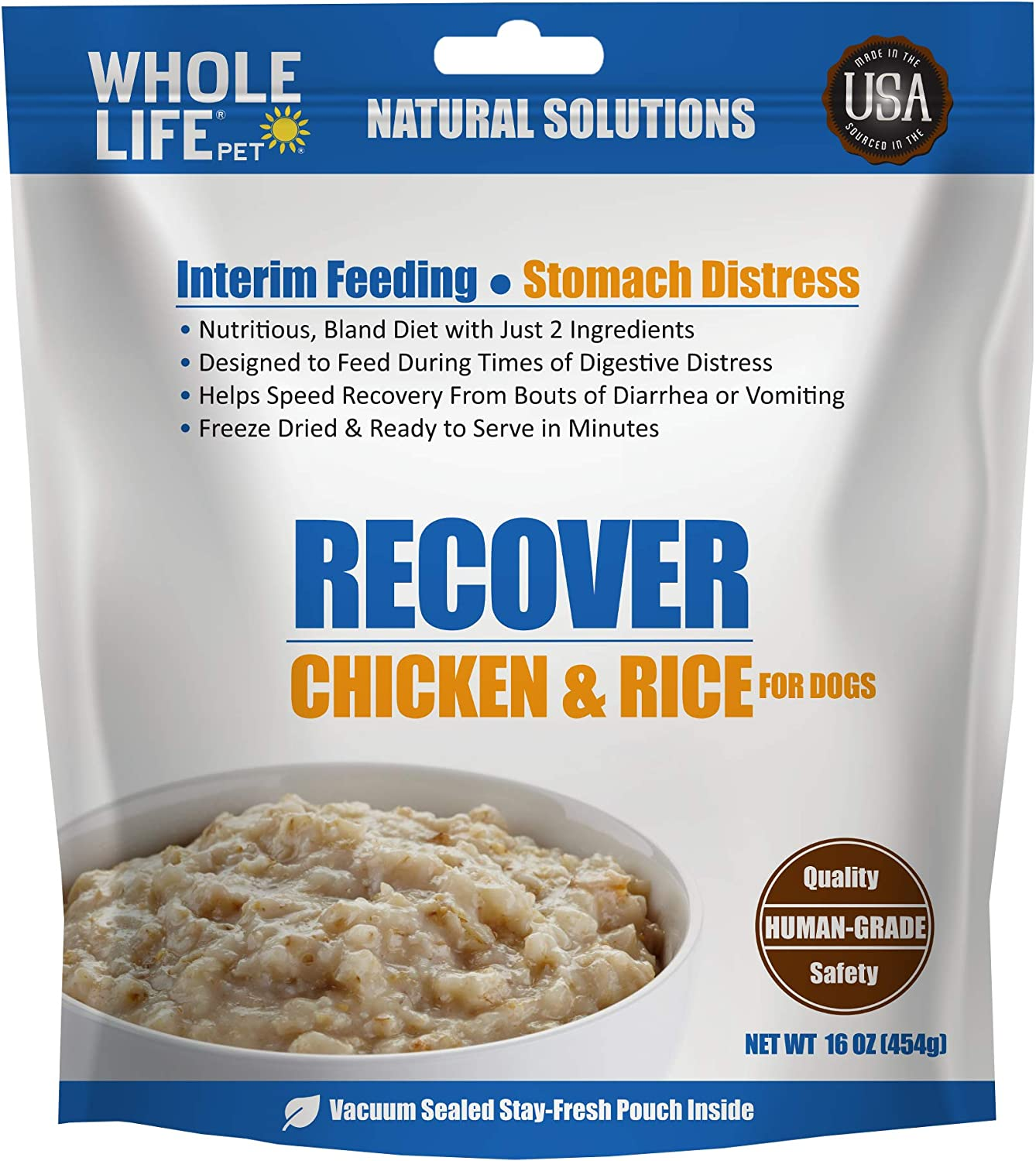 Whole Life Pet Products Recover Freeze Dried Human Grade Chicken & Rice, Nutritious Bland Diet, Diarrhea, Vomiting, Digestive Distress for Dogs 16oz, Blue (CR099)