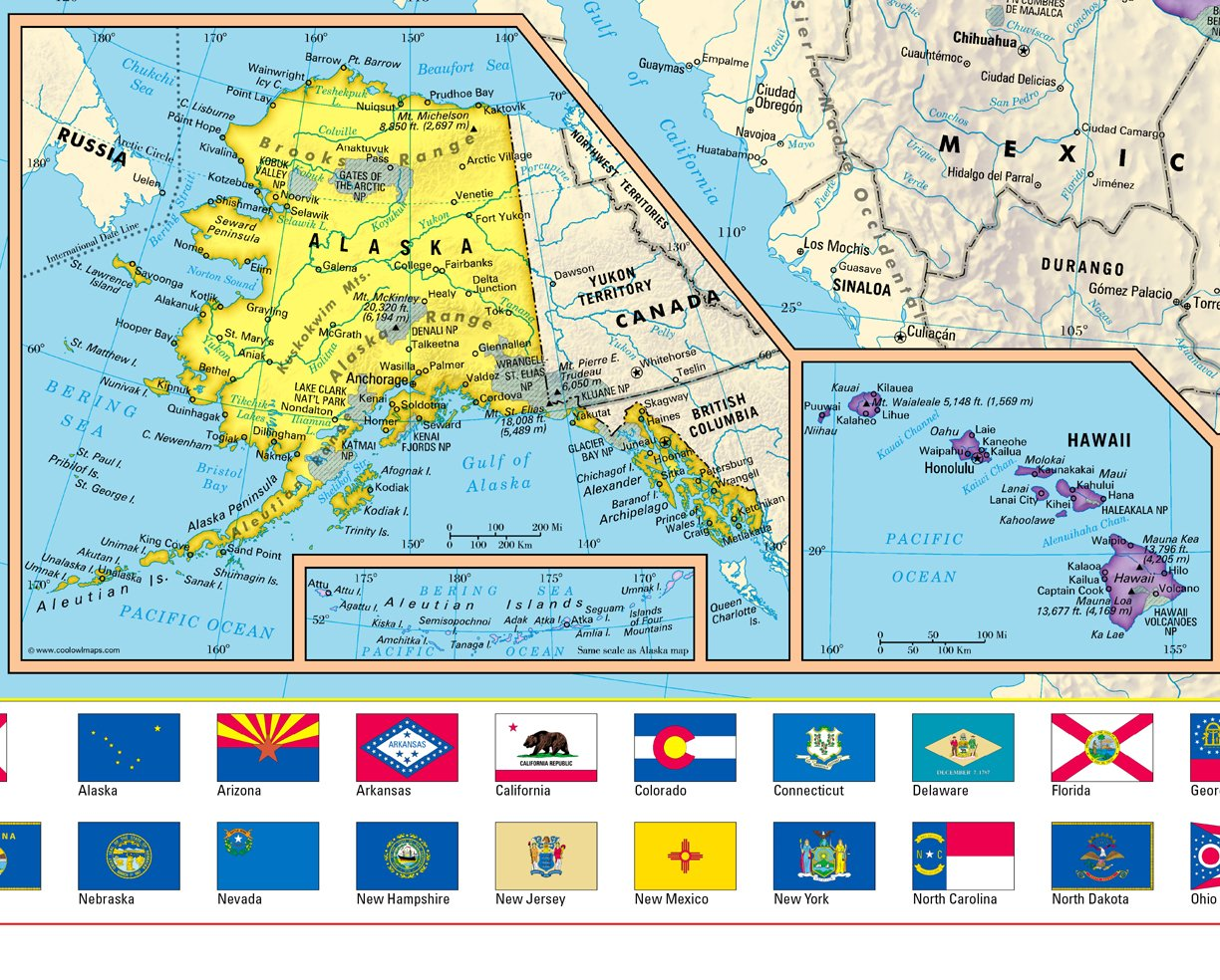 CoolOwlMaps 2018 United States Wall Map Poster with State Flags - Large 36''x30'' Rolled Paper by Cool Owl Maps (Image #3)