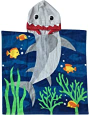 Hooded Towel for Age 1 to 6 Year Toddlers / Kids Boys, 100% Premium Cotton, Use for Bath Beach Pool and Swim Cover-ups, Extra Large Size 24X48 inches, Ultra Breathable and Soft for All Seasons, Shark Theme by Athaelay