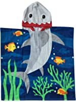 Hooded Towel for Age One to Five Years Toddler/Kid Boys, 100% Premium Cotton, Use for Bath Beach and Pool, Extra Large Size 24X48 inches, Ultra Breathable and Soft for All Seasons, Shark Theme