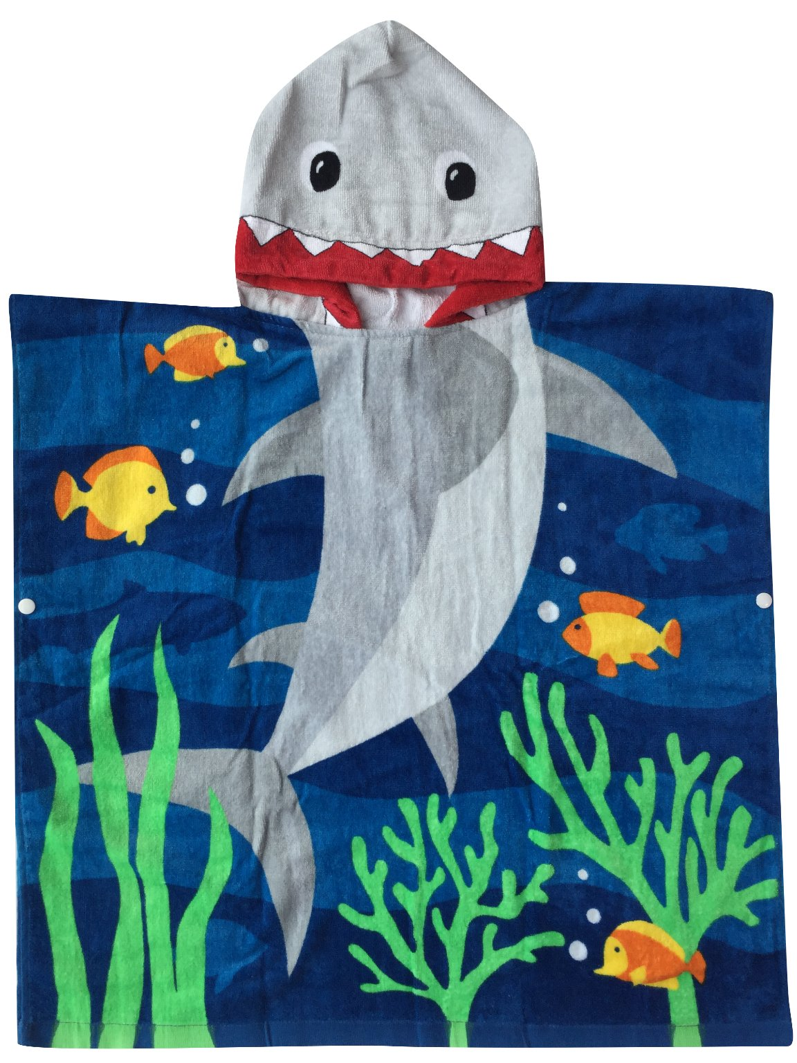 Hooded Towel for Age One to Five Years Toddler/Kid Boys, 100% Premium Cotton, Use for Bath Beach and Pool, Extra Large Size 24X48 inches, Ultra Breathable and Soft for All Seasons, Shark Theme by Athaelay